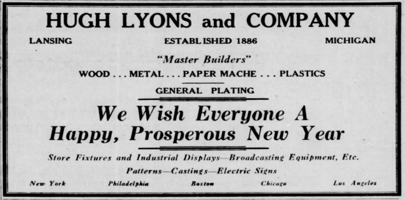 1940s era ad for hugh lyons co lansing mi the company was one of the primary producers of microphone call letter platesflags